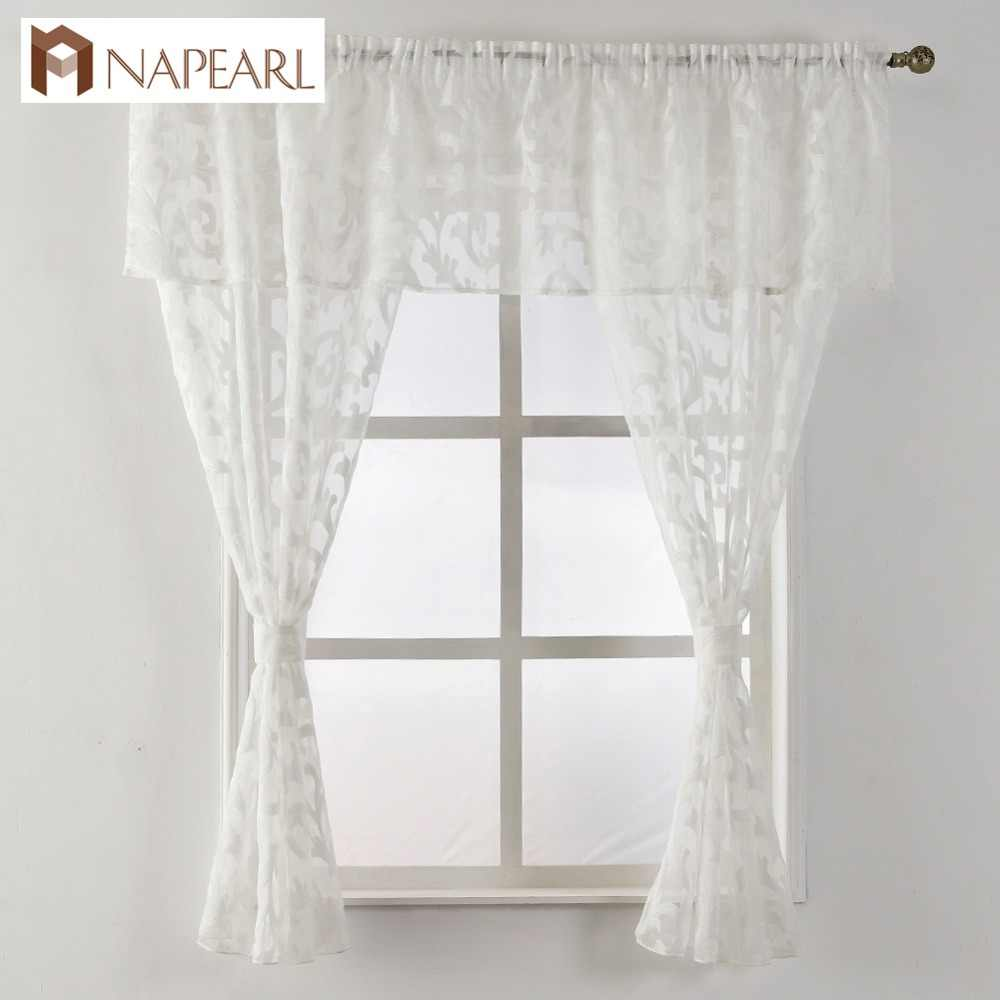 Short curtain valance kitchen window small organza jacquard fabrics black white beige sheer curtain panel tulle window treatment