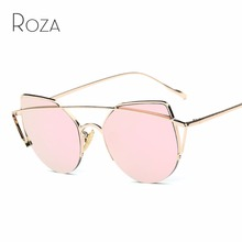 ROZA Sunglasses Women Brand Designer Hot Selling Vintage Pop Copper Frame Coating Lens Sun Glasses UV400 QC0446