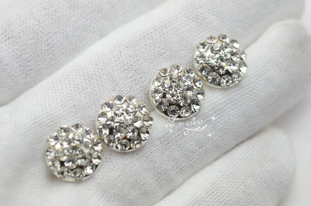 10 PCS Crystal Rhinestone Button Costume Dress Applique Vintage Silver KK-2(China)