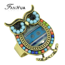 FANHUA New Vintage Style Antique Gold-Color with Green Blue Beads Lovely Owl Finger Rings for Women(China)