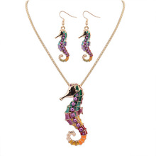 SexeMara Vintage Metal Alloy Enamel Animal Hippocampus Necklace/Earring Jewerly Sets Colorful Anti-allergic Accessories Femme