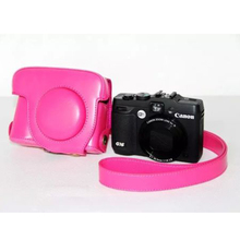 Factory Sell PU Leather Camera Bag Case Cover Fits for Canon G15 G16 Camera W Single Shoulder Strap Pink Free Shipping