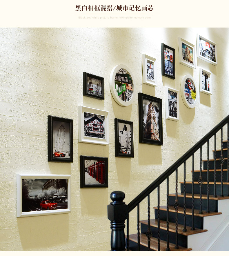 2018 New Style Stairway Art Wall Hanging Photo Frames Set Wooden ...