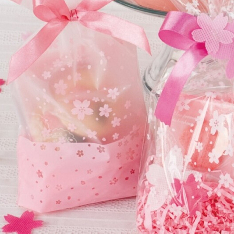 Candy Cookie Plastic Packing Bag Transparent Packaging Bags Gift 100pcs/lot Frosted Pink Fresh Mini Cherry Blossoms Print(China (Mainland))