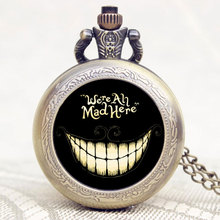 Popular Gift Alice In Wonderland Extension We are All Mad Here Words Bronze Pocket Watch With Black Case(China)
