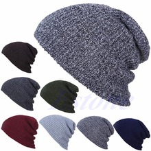 NEW Men Women Winter Skull Chunky Knit Beanie Baggy Oversize Cap Warm Unisex Hat