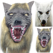 New Specially Animal Wolf Head With Hair Mask Fancy Dress Costume Party Scary Halloween Festival Party Halloween Masquerade Mask(China)