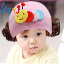 kids girls caps with wigs3month- 3 years kids caps baby wig rose pink yellow blue knitted Cartoon Caterpillar kid cap with wigs