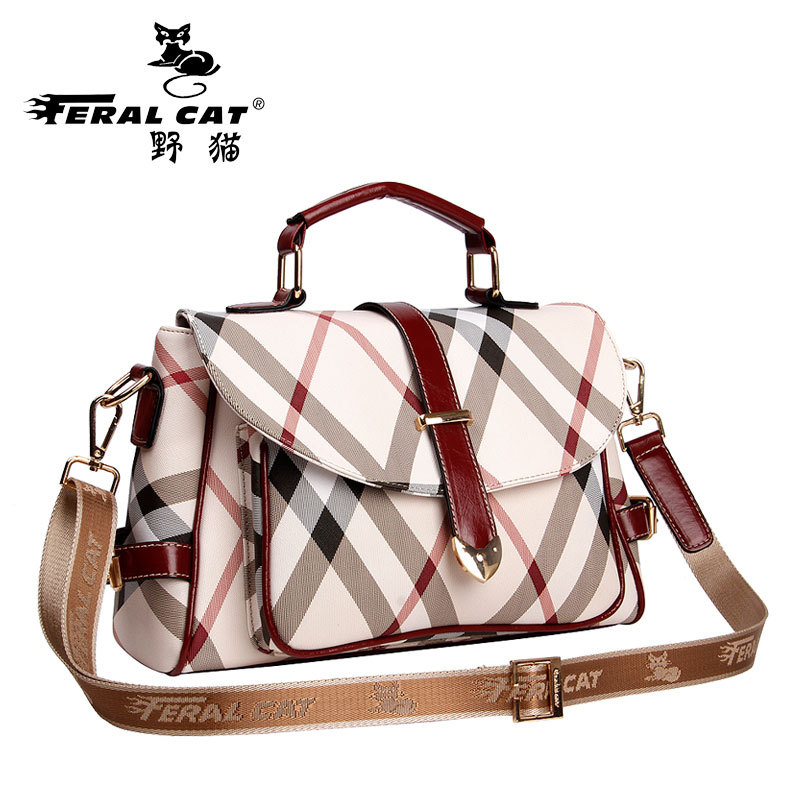 FERAL CAT Belt Women Shoulder Messenger Bags 2017 Pvc Plaid Ladies Handbags Vintage Tote Crossbody Briefcase Female Bag<br>
