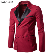 Red Blazer Men 2017 Brand New Double Breasted Men Blazer Autumn Casual Pocket Men Suit Jacket Slim Fit Winter Blazer Veste Homme