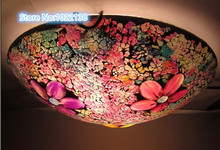 mosaic glass LED ceiling lamp traditional Flush Mount Ceiling Lights multi colour glass tiffany style modern ceiling light