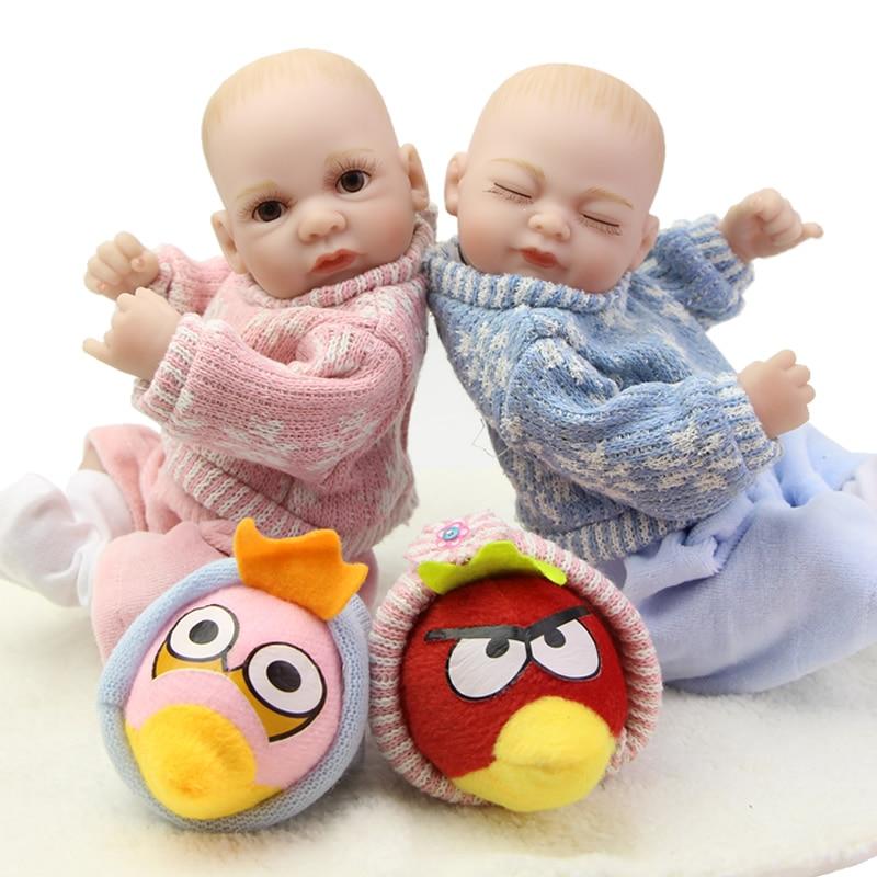 Boy And Girl 11 Inch Twins Reborn Full Silicone Vinyl Baby Dolls For Kids Lifelike Fashion Mini Doll Children New Year Gift<br><br>Aliexpress