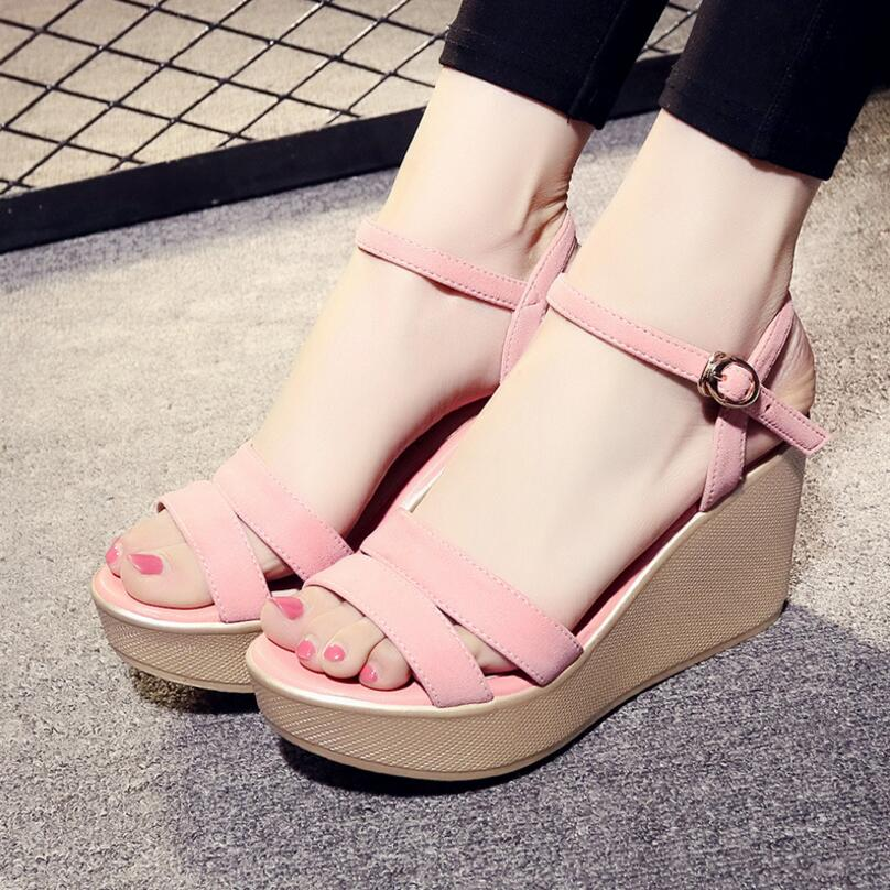 D&amp;Henlu 2018 Shoes Women Sandals Summer Platform Sandals High Heels Sandal Women Basic Sandal Heels Wedge sandalia plataforma<br>