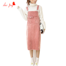 Preppy Style Women's Overall Dress Corduroy Spaghetti Strap Casual Vestidos Midi Long Dresses Female Clothings Back Split