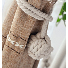 Hand Knitting Curtain Rope Rural Cotton Rope Tie Band Home Decor Curtain Accessories Crystal Hanging Ball Tie Curtains Accessory