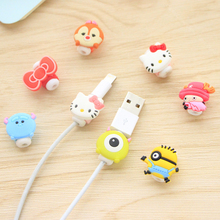 2 pieces Kawaii Cute Cartoon Cable Protector de cabo USB Cable Winder Cover Case For IPhone 7 7s 6 6s plus 5s phone accessories
