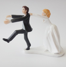 Humor Marriage Polyresin Figurine Wedding Cake Toppers Resin Decor Doll Lover Birthday Gift(China)