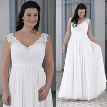Sexy Cap Sleeve V Neck Beach Wedding Dress Plus Size 2017 Floor Length Chiffon Beaded Lace Bridal Gowns Robe De Mariage