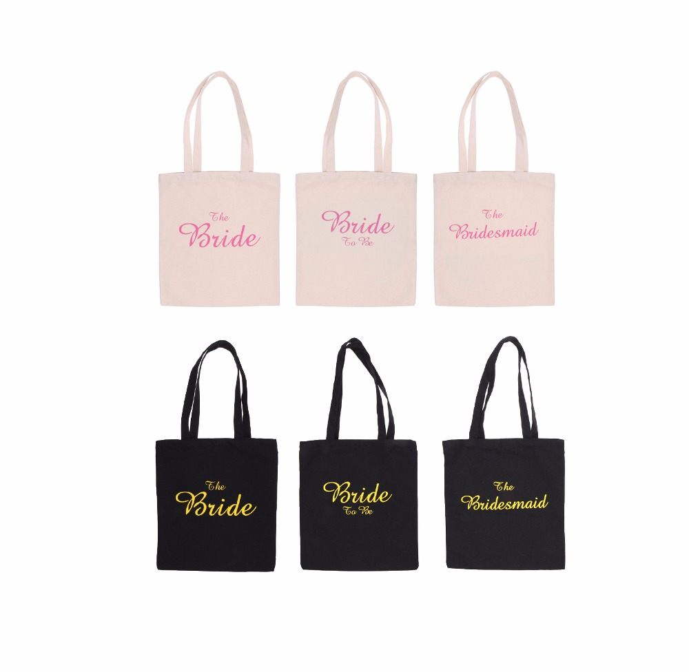 New Hot Sale Wedding Party Bridal Tote Bag Bridesmaid/Bride to Be/The Bride Hen Party Gift Bag Wedding Party Supplies Home Decor(China)