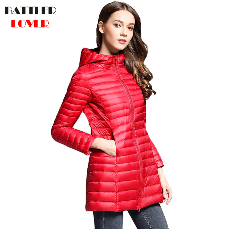 Winter Women Ultra Light Down Jacket 90% Duck Down Hooded Long Jackets Long Sleeve Warm Coat Womens Parka Female Portabl Outwear