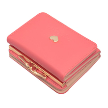 FGGS-Three fold wallet female short paragraph 2017 new Korean students love small purse Purse(Apricot)