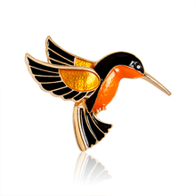 Metal Bird Red-crowned Crane Flamingo Brooch Pins Women Girl Charm Animal Pin Bag Suit Jacket Gold Badge Fashion Jewelry