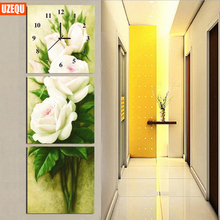UzeQu Triptych 5D DIY Wall Clock Diamond Painting Cross Stitch Peony Flower Watch Diamond Embroidery Mosaic Painting Rhinestones