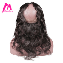 Maxglam 22*4*2 Pre Plucked 360 Lace Frontal Closure With Baby Hair Brazilian Hair Body Wave Remy Human Hair Free Shipping(China)