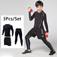 New compression running sets suits For Kid Base Layer Running Suits Long Sleeve pants Fitness Leggings Children GYM Clothing 638(China)
