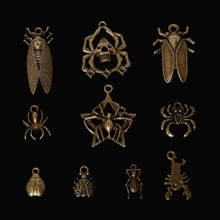 New Arrival Antique Zinc Alloy Bronze Plated Spider Ladybug Cicada Scorpion Charms Necklace Pendant Fashion Jewelry Making Craft(China)