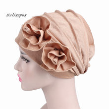 Helisopus 2019 New Lady Fashion Elegant Chemo Cap Double Flower Stretchy Cap Muslim Turban Women's Wrinkle Casual Headwear(China)
