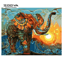 ZOOYA Diamond Embroidery DIY Diamond Painting Colorful Elephant &Sun Diamond Painting Cross Stitch Rhinestone Decoration CJ939(China)