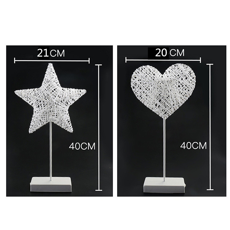 Chiclits 40CM Star Heart Shape LED Night Light Grass Rattan Woven Battery Power Girls Bedroom Decorative Table Lamp Kid Gift Toy (15)