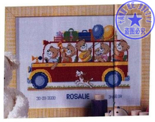 Top Quality Beautiful Lovely Counted Cross Stitch Kit Birth Record Certificate Baby Bear Bears Bus vervaco(China)
