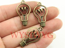 WYSIWYG 4pcs 32*17mm Antique Bronze Color Bulb Charms(China)
