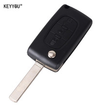 KEYYOU 3 Buttons Flip Remote Uncut Blade Remote Car Key Case Cover Shell Fob for Citroen C2 C3 C4 C5 C6 C8 CE0523