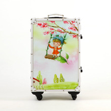 20/24 inches Cute cartoon high-grade PU leather suitcase + solid wood rod box Universal wheel lockbox luggage men and women