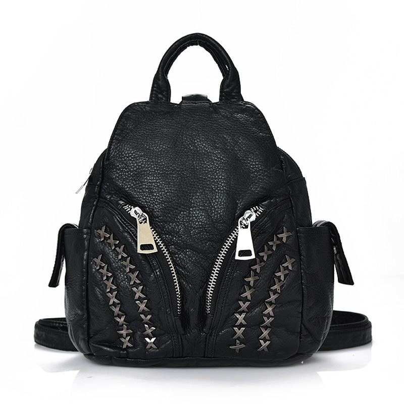 2017 Korean version of rivets soft washed PU leather Backpacks female leisure travel backpack school wind students bags<br><br>Aliexpress