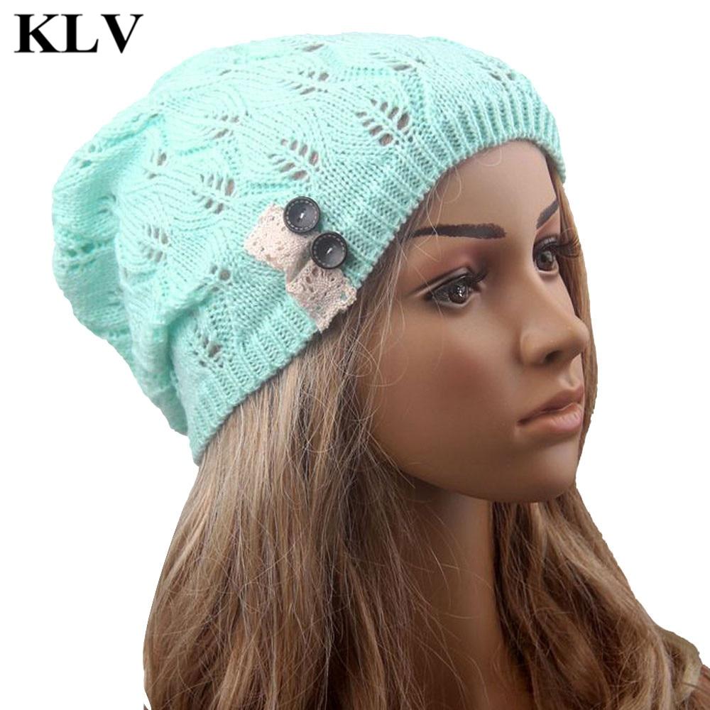 Fashion Leaves Hollow Out Lace Button Knitting Hat Women Winter Warm Thin Slouchy Beanies Knitted Cap Lady Girls Skullies Sep30Îäåæäà è àêñåññóàðû<br><br><br>Aliexpress