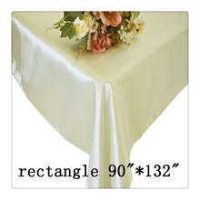 "Free shipping rectangle tablecloth size 90""*132"" color  ivory for wedding decoration/ivory table cloth 132"