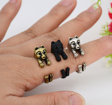 Real Picture Punk Vintage 3D Pomeranian Puppy Dog Wrap Ring Anillos Boho Chic Anel Rings For Women Anillos Fashion Jewelry