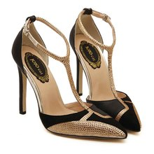 Hot sale T strap women 10.5cm pumps sexy pointy toe platform shoes giltter pump high heels bridal shoes wedding sapato feminino