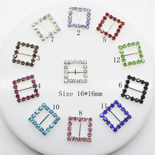 2017 New 10pcs/lot 16mm Square Multicolor Rhinestones Buckles Metal Diamante Diy Hair Accessory Bling Wedding Ribbon Fitting(China)