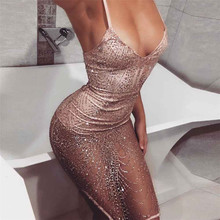 Buy New Style Women Sexy Sleeveless V Neck Bodycon Sequins Dress Sexy Fashion Hot Sales Wolovey#15 for $12.95 in AliExpress store