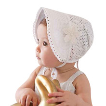 Sweet Princess Hollow Out Baby Girl Hat Summer Lace-up Beanie Pink/White Cotton Infant Bonnet for 0-12M