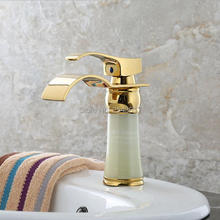 Bathroom Golden Faucets Marble Stone Basin Waterfall Mixer Taps Vessel Sink Torneira Banheiro ZR803
