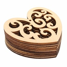 Fashion 10pcs/lot Love Hearts Shaped Laser Cut Decorative Unfinished Wooden Craft Embellishments Ornaments Toys DIY Wood Decor