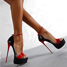 Summer Women Sandals Fashion patent leather Thin Heel Open Toe Pumps Sandals Women Sexy Club Party High Heels Shoes
