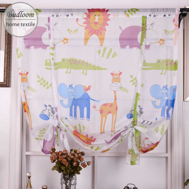 Budloom printed animals tulle short curtains for kids bedroom kitchen short voile lion elephant sheer curtains for baby room