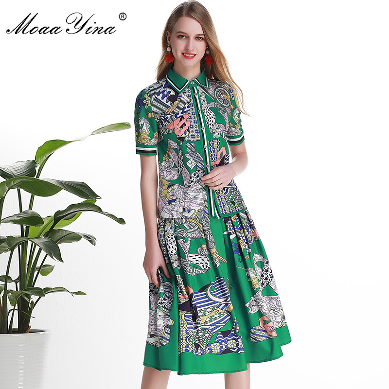 MoaaYina Fashion Designer Set Women Short sleeve Floral-Print Elegant Green Shirt Tops+Skirt Two-piece suit